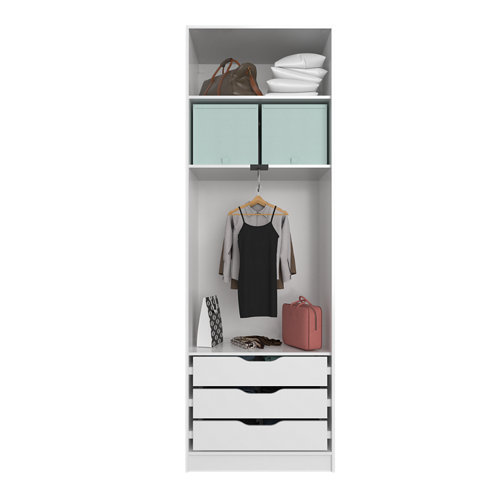 Composición nº5 spaceo home armario kit vestidor sin puertas blanco 240x80x60cm