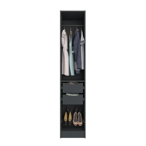 Composición nº6 spaceo home armario kit vestidor sin puertas gris 240x40x60cm