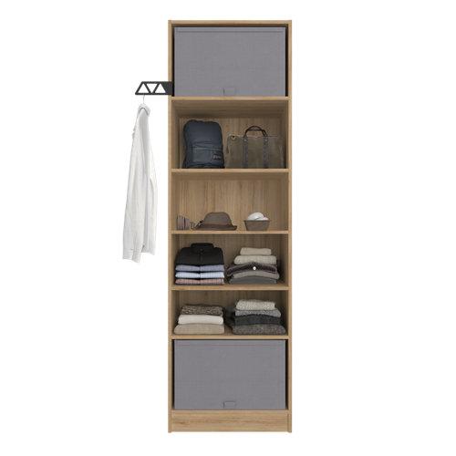 Composición nº11 spaceo home armario kit vestidor sin puertas roble 200x60x45cm