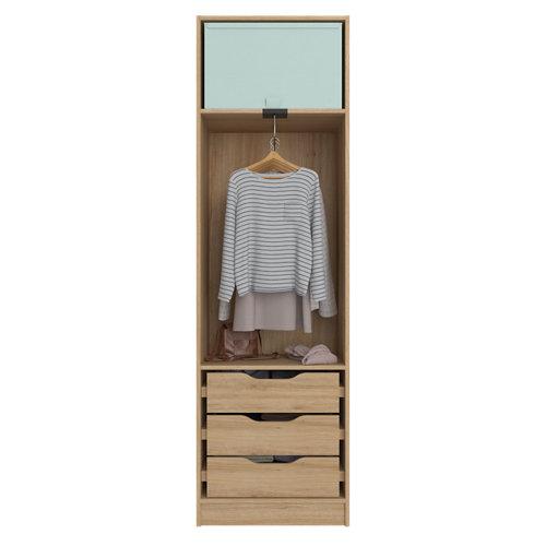 Composición nº13 spaceo home armario kit vestidor sin puertas roble 200x60x45cm
