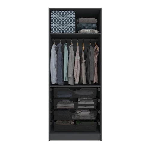 Composición nº15 spaceo home armario kit vestidor sin puertas gris 240x80x60cm