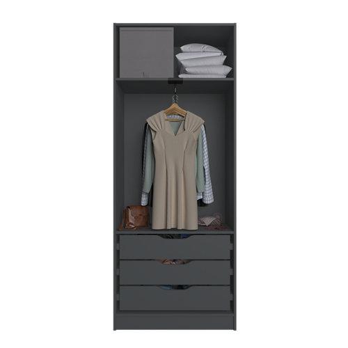 Composición nº19 spaceo home armario kit vestidor sin puertas gris 240x80x60cm