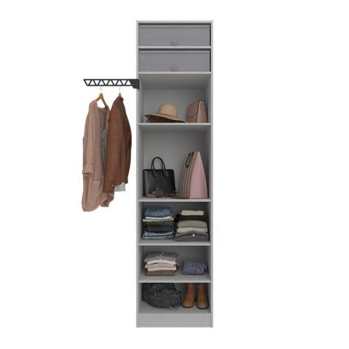 Composición nº21 spaceo home armario kit vestidor sin puertas textil 240x60x60cm