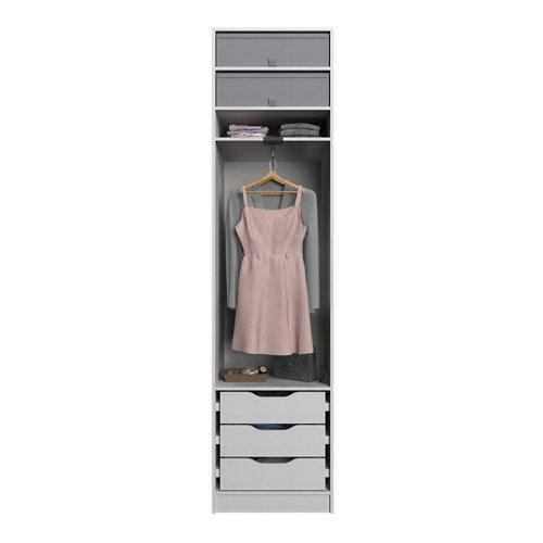 Composición nº24 spaceo home armario kit vestidor sin puertas textil 240x60x60cm