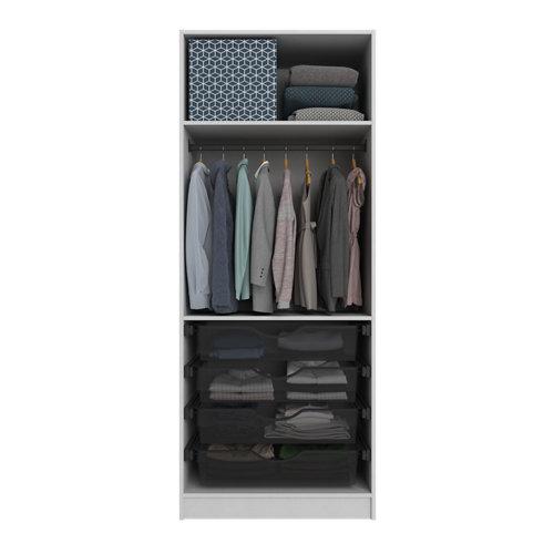 Composición nº25 spaceo home armario kit vestidor sin puertas textil 240x80x60cm