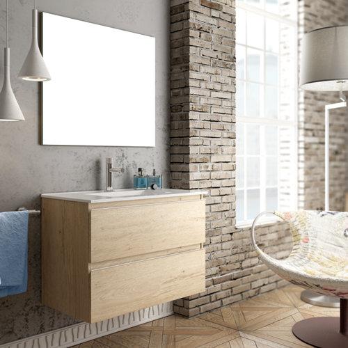 Mueble de baño con lavabo y espejo inglet roble 80x45 cm