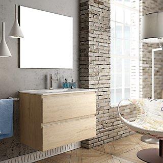 Mueble Baño Lavabo Y Espejo Inglet 80x45 Cm Leroy Merlin