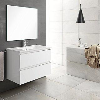 Mueble Baño Lavabo Y Espejo Inglet Blanco 80x45 Cm Leroy Merlin