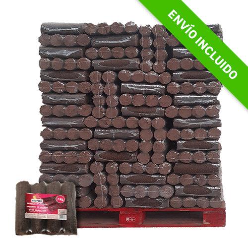 Palet de briquetas de leña biofire eider biomasa de 952 kg