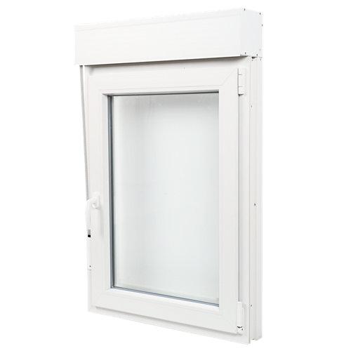 Ventana pvc blanca oscilobatiente persiana derecha 75x115 cm