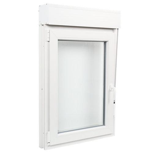 Ventana pvc blanca oscilobatiente persiana izquierda 75x115 cm