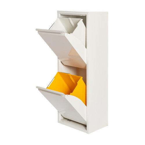 Armario metálico reciclaje blanco de 2 puertas, 33x25x92cm, con 2 cubos de 15l