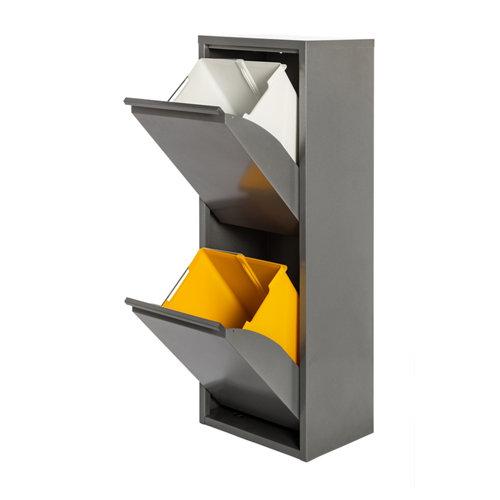Armario metálico reciclaje gris de 2 puertas, 33x25x92cm, con 2 cubos de 15l