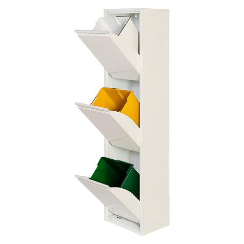 Armario metálico reciclaje blanco de 3 puertas, 33x25x136cm, con 3 cubos de 15l