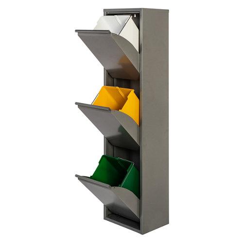 Armario metálico reciclaje gris de 3 puertas, 33x25x136cm, con 3 cubos de 15l