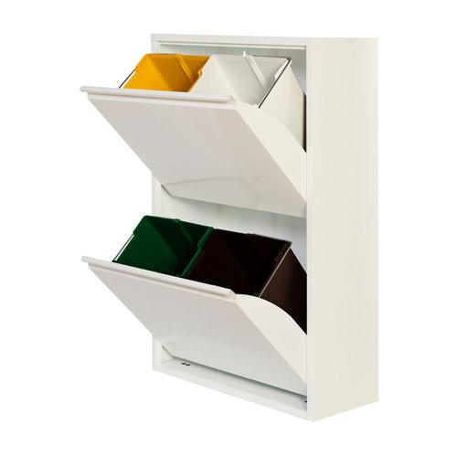 Armario metálico reciclaje blanco de 2 puertas, 60x25x92cm, con 4 cubos de 15l