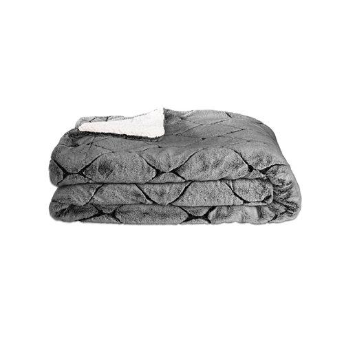 Manta losanges gris 100 % poliéster de 170x130 cm