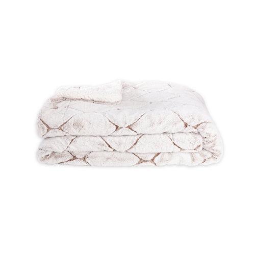 Manta losanges blanco 100 % poliéster de 170x130 cm