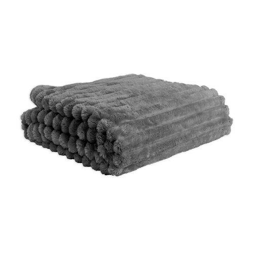 Manta cotele gris 100 % poliéster de 170x130 cm