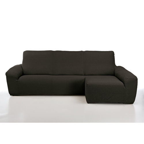 Funda chaise longue elástica erik café izquierdo