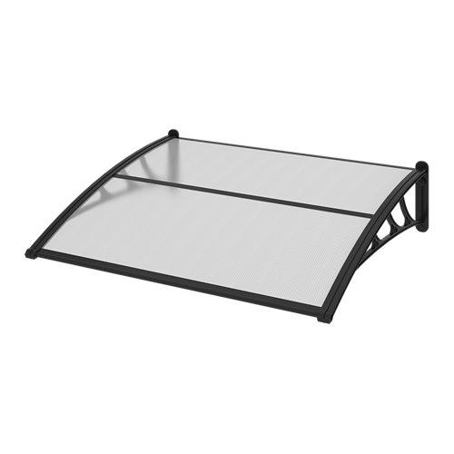 Toldo de plástico negro y cubierta de policarbonato alveolar transparente 100x12