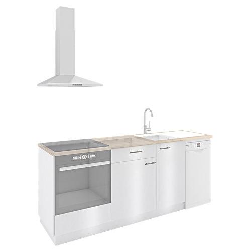 Cocina one click delinia id sevilla blanco brillante i 265 cm muebles bajos