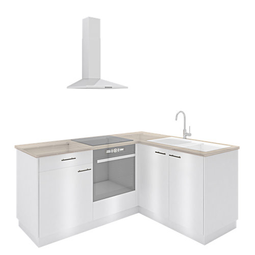 Cocina one click delinia id sevilla blanco brillante l 190x215 cm muebles bajos