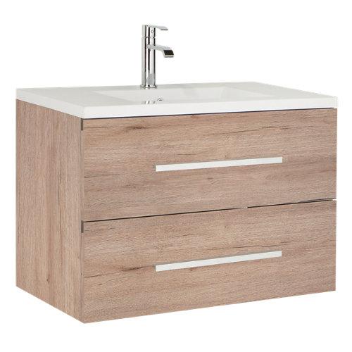 Mueble de baño con lavabo madrid suspendido roble 60x45 cm