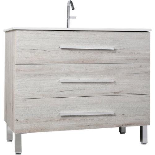Mueble de baño con lavabo madrid roble suave 100x45 cm