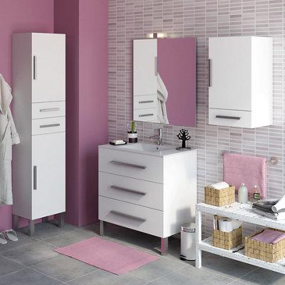 Mueble De Baño Con Lavabo Madrid Blanco 80x45 Cm Leroy Merlin