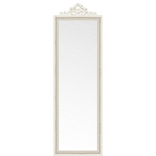Espejo enmarcado de pie con copete beige 165 x 50.5 cm