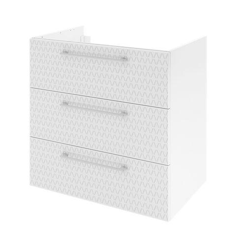 Mueble de baño con lavabo remix serigrafiado con 3 cajones blanco 75x48 cm