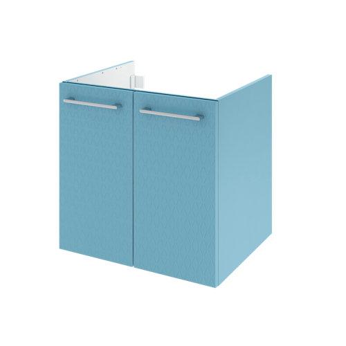 Mueble de baño con lavabo remix serigrafiado con 2 puertas azul 60x48 cm