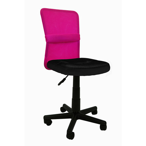 Silla de escritorio con respaldo alba negro y rosa