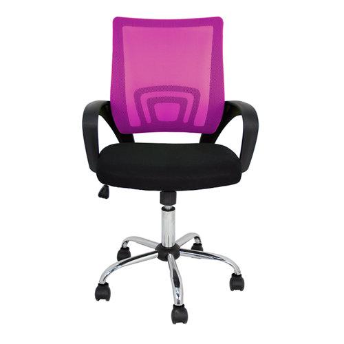 Silla de escritorio con respaldo martina negro y rosa