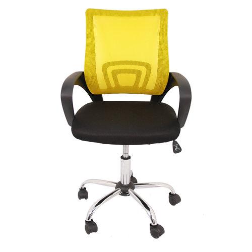 Silla de escritorio con respaldo martina negro y amarillo