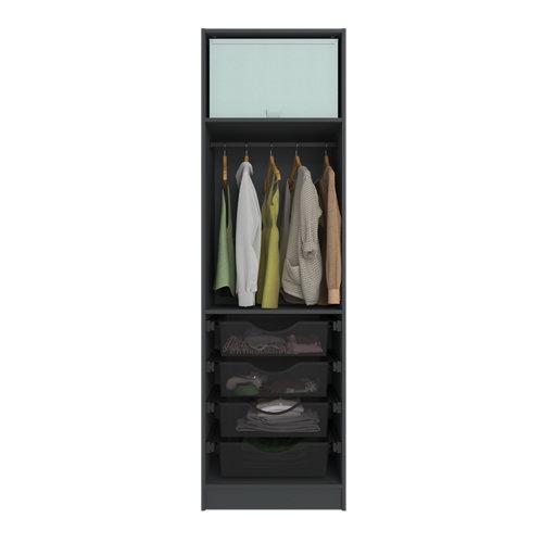 Composición nº37 spaceo home armario kit vestidor sin puertas gris 240x60x60cm