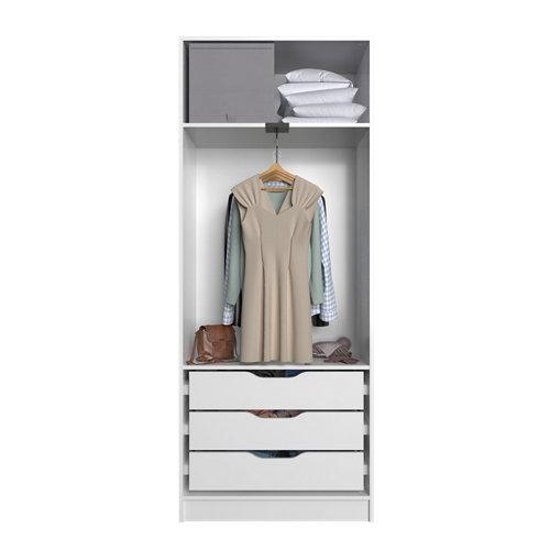 Composición nº42 spaceo home armario kit vestidor sin puertas blanco 200x80x45cm