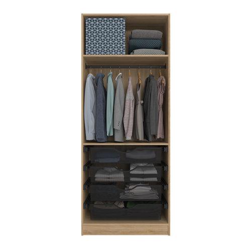 Composición nº50 spaceo home armario kit vestidor sin puertas roble 240x80x60cm