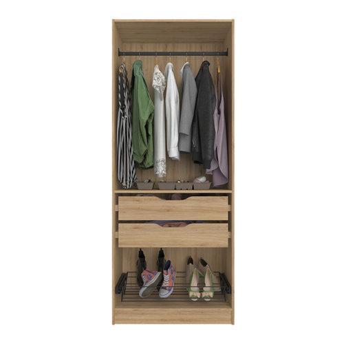 Composición nº52 spaceo home armario kit vestidor sin puertas roble 240x80x60cm