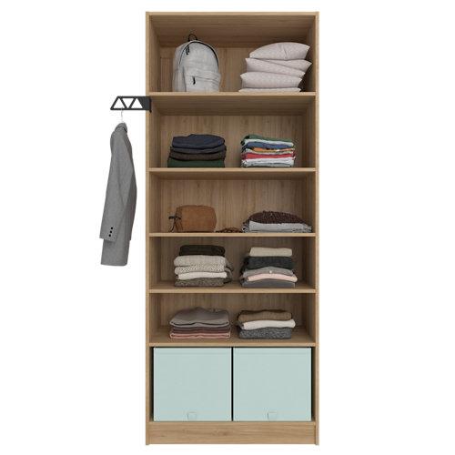 Composición nº53 spaceo home armario kit vestidor sin puertas roble 200x80x45cm