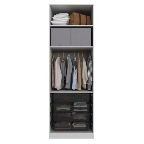 Composición nº55 spaceo home armario kit vestidor sin puertas textil 240x80x60cm