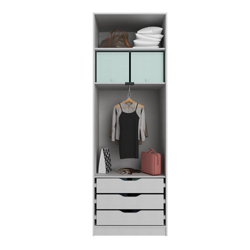 Composición nº59 spaceo home armario kit vestidor sin puertas textil 240x80x60cm
