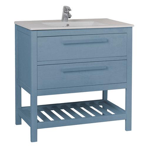 Mueble de baño con lavabo amazonia azul 80 x 45 cm