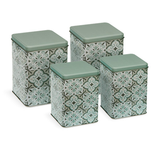 Pack de 4 envases de cocina metal multicolor 2 grandes y 2 pequeños
