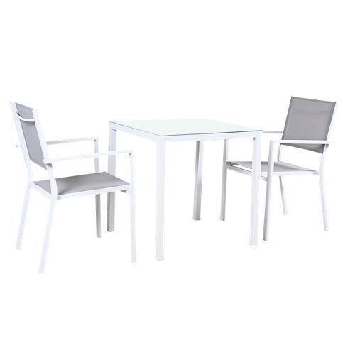 Conjunto de muebles de exterior salónica de aluminio para 2 comensales