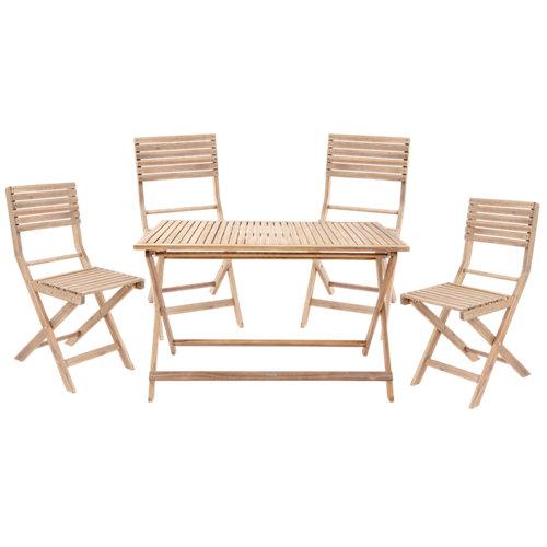 Conjunto de muebles de exterior solís de acacia para 4 comensales