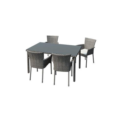 Conjunto de muebles de exterior noa de acero y ratán para 4 comensales