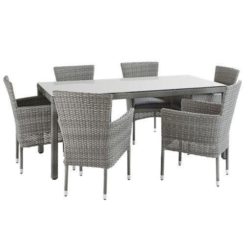Conjunto de muebles de exterior davos de aluminio y ratán para 6 comensales