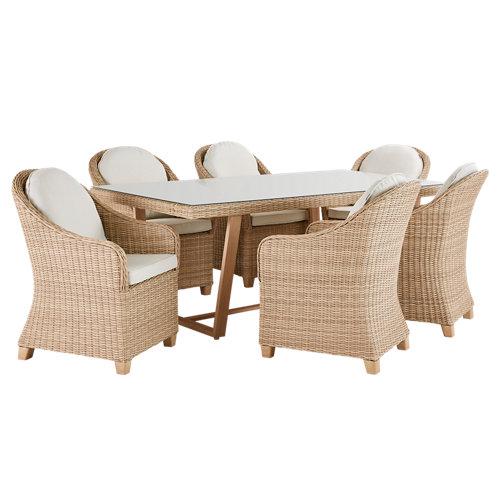 Conjunto de muebles de exterior medena de aluminio y ratán para 6 comensales